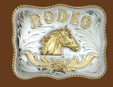 RODEO Horsehead German Silver Buckle 4x 3