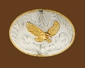 German Silver Eagle Belt Buckle 4-1/4 x 3