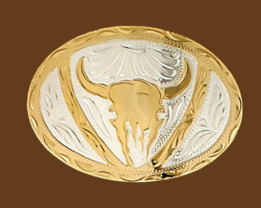 German Silver Steer Head Belt Buckle 4-1/4 x 3