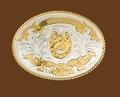 German Silver Horsehead & Horseshoe Belt Buckle 4-1/4 x 3