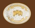 German Silver Triple Horsehead Trophy Belt Buckle 5 x 3-3/4