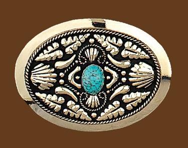 German Silver Belt Buckle w/ Turquoise Stone 3-3/4 x 2-3/4