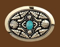 German Silver Belt Buckle w/ Turquoise Stone 3-3/4 x 2-3/4
