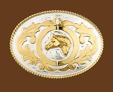 German Silver Horsehead Belt Buckle 4-1/4 x 3-1/8