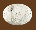 German Silver Engraved Oval Belt Buckle 4-1/4 x 3-1/8