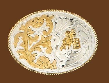German Silver Barrel Silver Belt Buckle 4 x 2-3/4