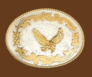 German Silver Eagle Belt Buckle 4-1/4 x 3