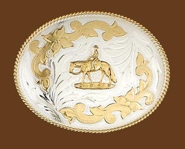 German Silver Walking Horse/Rider Belt Buckle 5 x 3-3/4