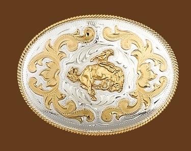 German Silver Bucking Bronco Belt Buckle 5 x 3-3/4