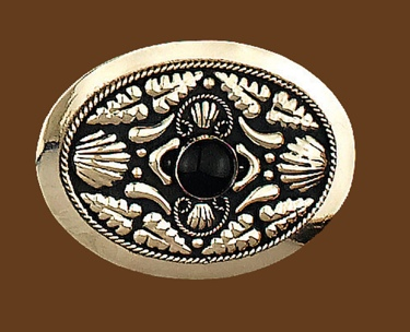 German Silver with Onyx Belt Buckle 3-3/4 x 2-3/4