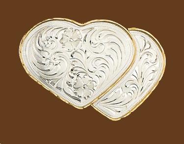German Silver Double Heart Belt Buckle 4 x 2-1/2