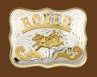 German Silver RODEO Bullrider Belt Buckle 5x4