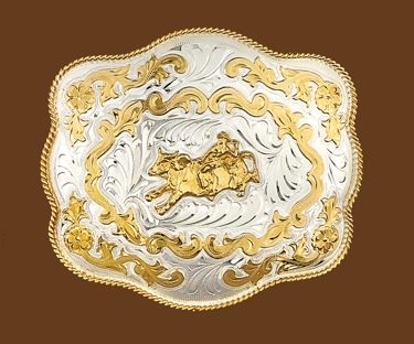Extra Large German Silver Bullrider Buckle 6x5