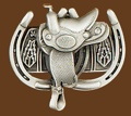 Saddle & Horseshoes Belt Buckle 3 x 2-3/4