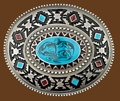 Southwest with Blue Stone Belt Buckle 3 x 2-3/4