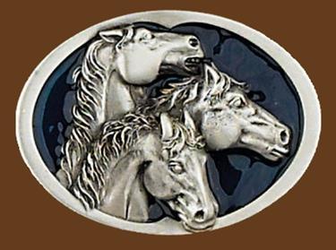 3 Horse Heads/blue enamel Belt Buckle 3-1/4 x 2-1/4