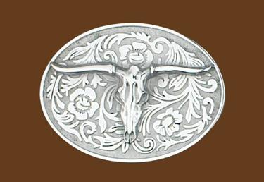 Western Steer Belt Buckle - 4 x 3