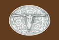 Western Steer Belt Buckle - 4 x 3