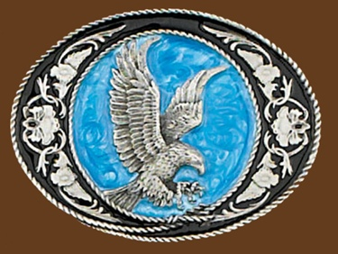 Eagle Buckle Black & Blue enamel 3-1/4 x 2-1/2