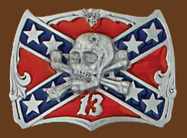 z Skull on Confederate Flag Belt Buckle 2-1/2 x 2 z