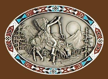Chief Joseph Indian Belt Buckle 3-1/4 x 2-1/4