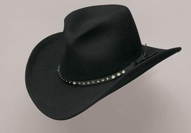 Black Pinch Fr Wool / slvr diamond conchos