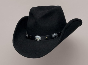 Black Pinch Crushable Wool Hat/Oval conchos
