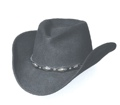 *BLACK* Pinch Crushable Wool Hat Diamond Conchos