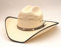 Bangora Hat/ Leather & Rope Band Black Border on Brim