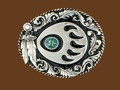 Bear Claw Belt Buckle Feathers Diamond Cut 3 x 2-1/2