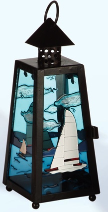 8 Inch Sailboat Nautical Candle Holder