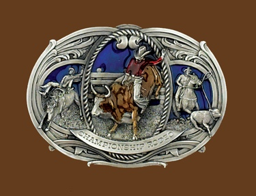 Large Championship Rodeo Belt Buckle 5-1/2 x 3-3/4