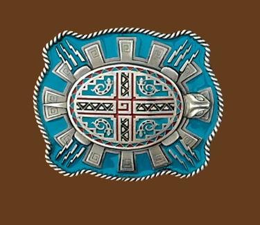Aztec Turtle Belt Buckle 3-1/2 x 3