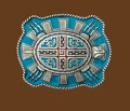 Aztec Turtle Belt Buckle 3-1/2 x 3