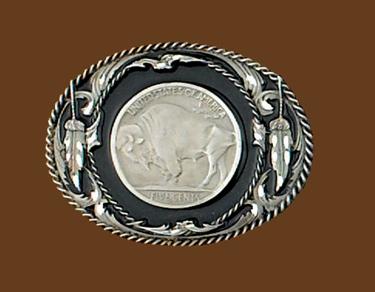Buffalo Coin Belt Buckle Black Enamel Diamond Cut 3-1/8 x 2-1/2