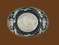 Buffalo Coin Belt Buckle Black Enamel Diamond Cut 3-1/8 x 2-1/2