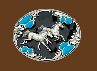 Running Horses Belt Buckle Black & Turquoise Enamel 3-1/4 x 2-1/2