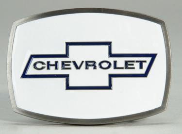 Chevrolet Belt Buckle White Enamel Background