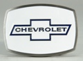 Chevrolet Belt Buckle White Enamel Background