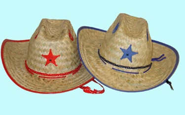 Palm Straw Hat/Sherrif/Red
