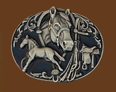 Horses Collage Enameled Belt Buckle 3-1/4 x 2-1/2
