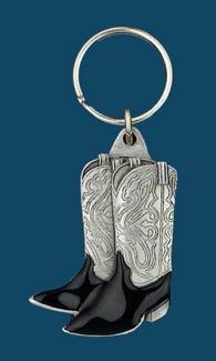 Cowboy Boots Key Ring Black Enamel