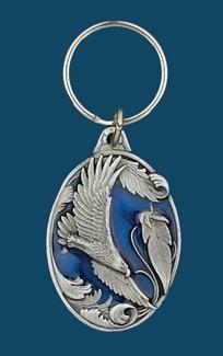 Soaring Eagle Key Ring Blue Enamel z