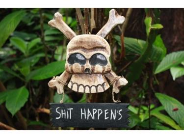Shit Happens Skull And Bones Sign Cross Bones Decor