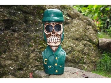 Skull Soldier Statue 16 Pop Art Cross Bones Decor