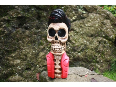Skull Elvis The King Statue 16 Pop Art Cross Bones Decor