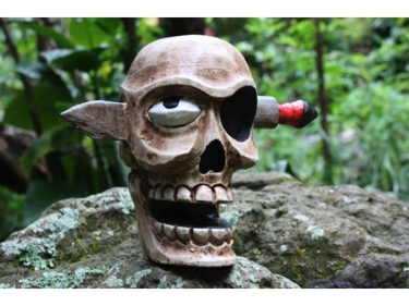 Skull W Knife Statue 16 Pop Art Cross Bones Decor