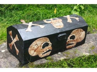 Large Treasure Chest Box 20 Skull Bones Decor
