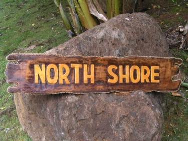North Shore Sign Drift Wood Tiki Bar Decor