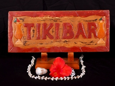 Tiki Bar Sign Hand Carved Hand Painted Decor